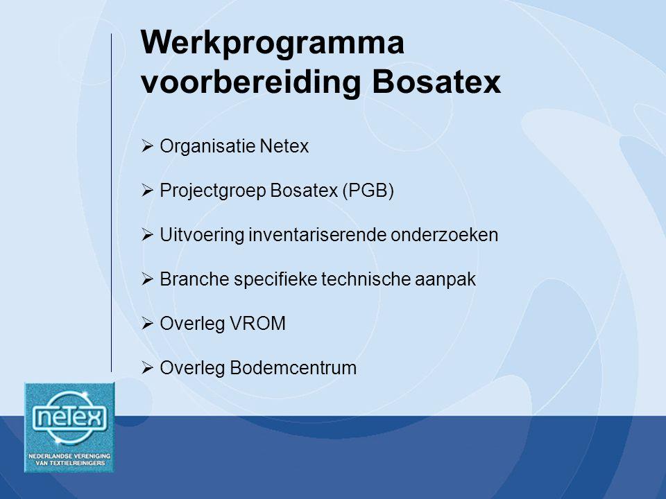  Organisatie Netex  Projectgroep Bosatex (PGB)  Uitvoering inventariserende onderzoeken  Branche specifieke technische aanpak  Overleg VROM  Overleg Bodemcentrum Werkprogramma voorbereiding Bosatex
