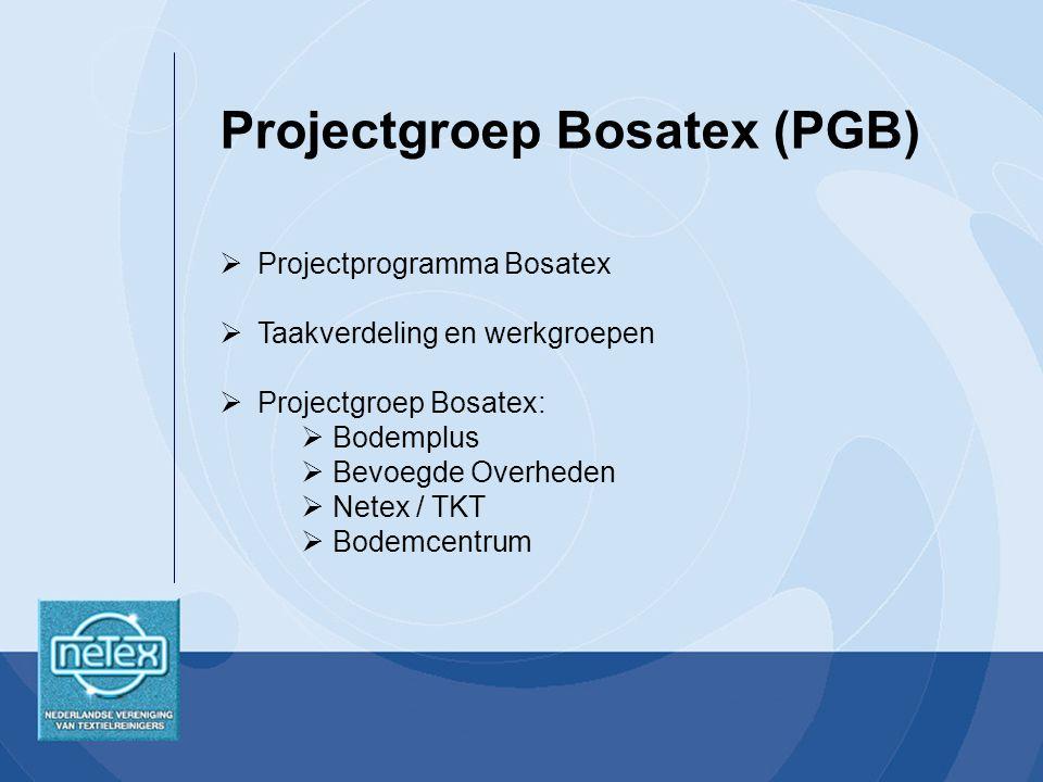  Projectprogramma Bosatex  Taakverdeling en werkgroepen  Projectgroep Bosatex:  Bodemplus  Bevoegde Overheden  Netex / TKT  Bodemcentrum Projectgroep Bosatex (PGB)