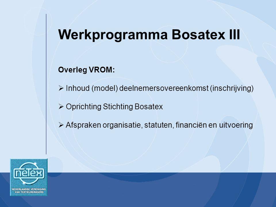 Overleg VROM:  Inhoud (model) deelnemersovereenkomst (inschrijving)  Oprichting Stichting Bosatex  Afspraken organisatie, statuten, financiën en uitvoering Werkprogramma Bosatex III