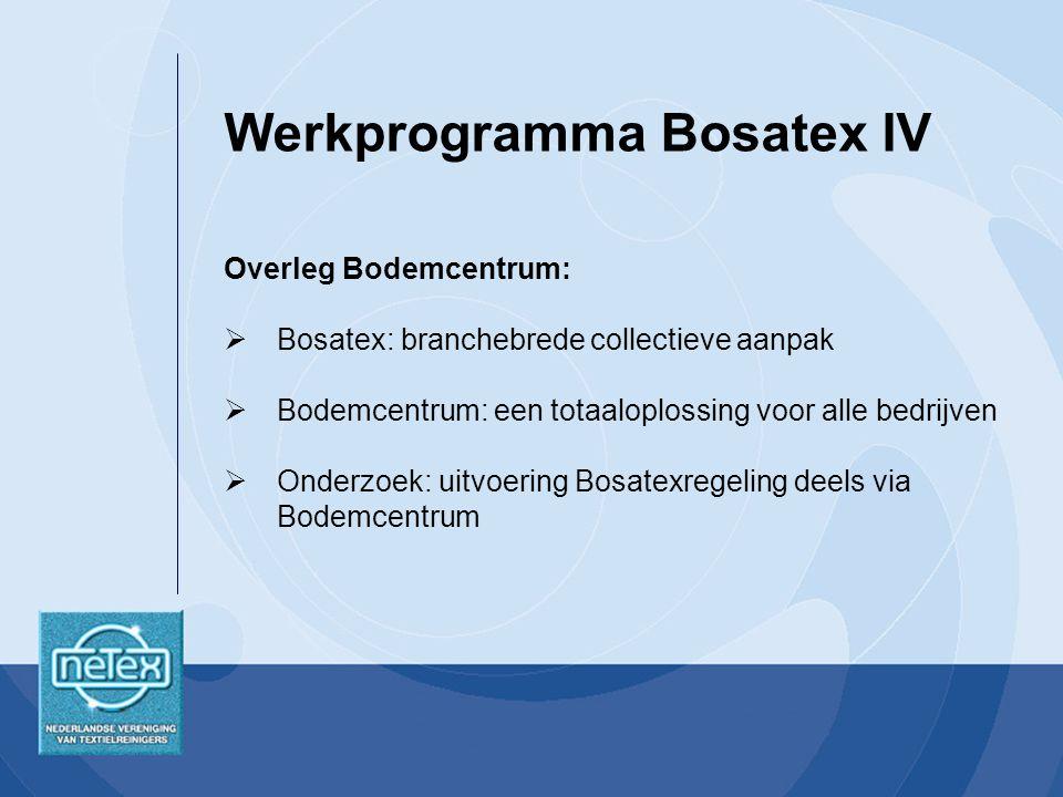 Overleg Bodemcentrum:  Bosatex: branchebrede collectieve aanpak  Bodemcentrum: een totaaloplossing voor alle bedrijven  Onderzoek: uitvoering Bosatexregeling deels via Bodemcentrum Werkprogramma Bosatex IV