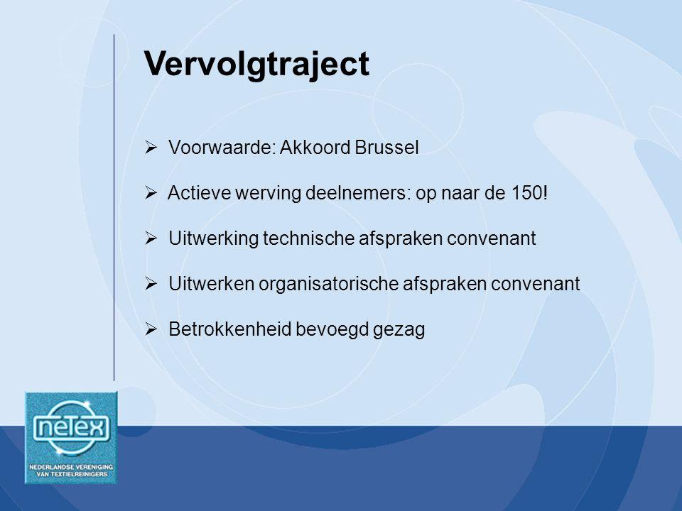 Voorwaarde: Akkoord Brussel  Actieve werving deelnemers: op naar de 150.