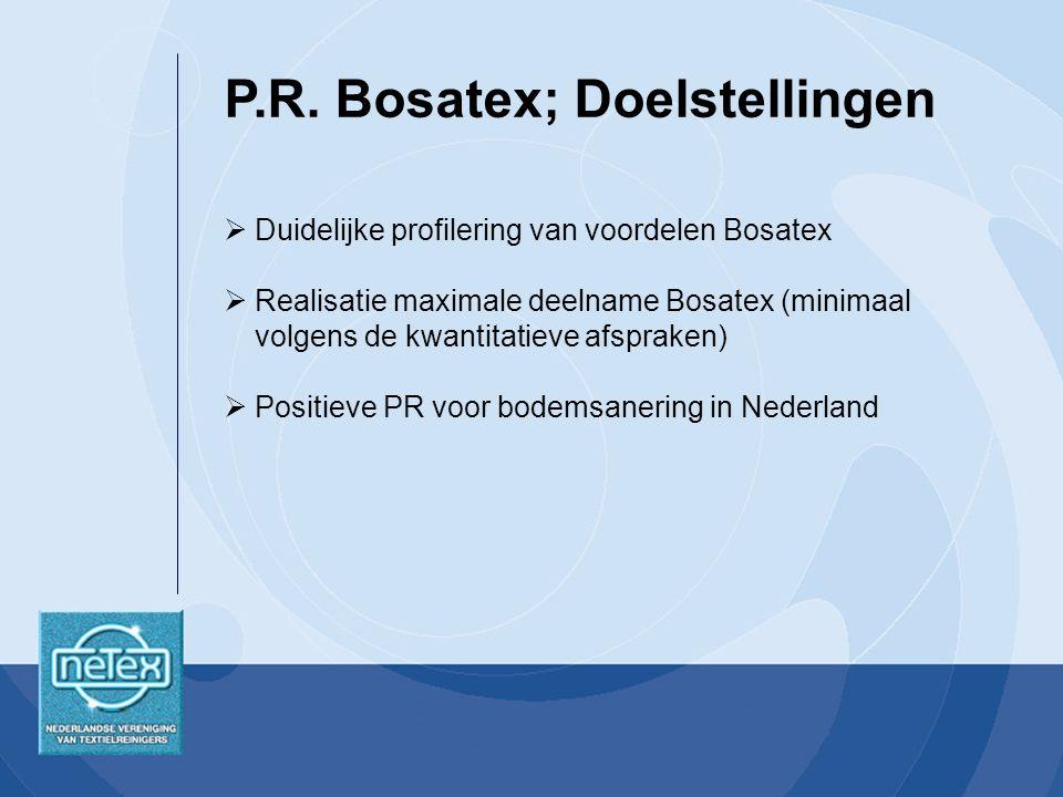  Duidelijke profilering van voordelen Bosatex  Realisatie maximale deelname Bosatex (minimaal volgens de kwantitatieve afspraken)  Positieve PR voor bodemsanering in Nederland P.R.