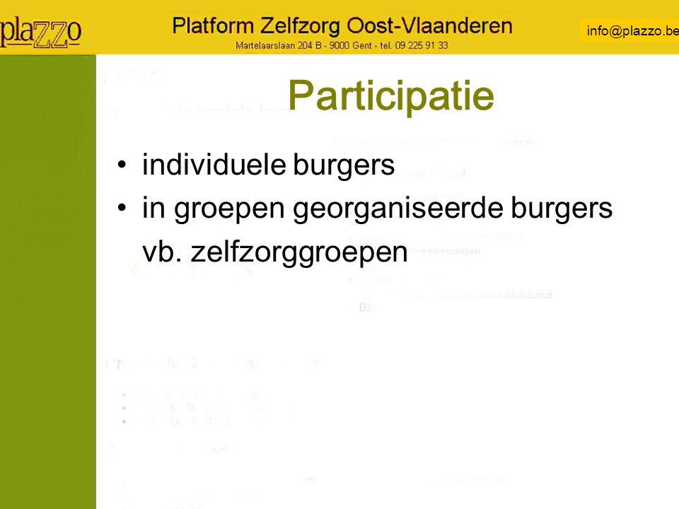 info@plazzo.be Participatie individuele burgers in groepen georganiseerde burgers vb.