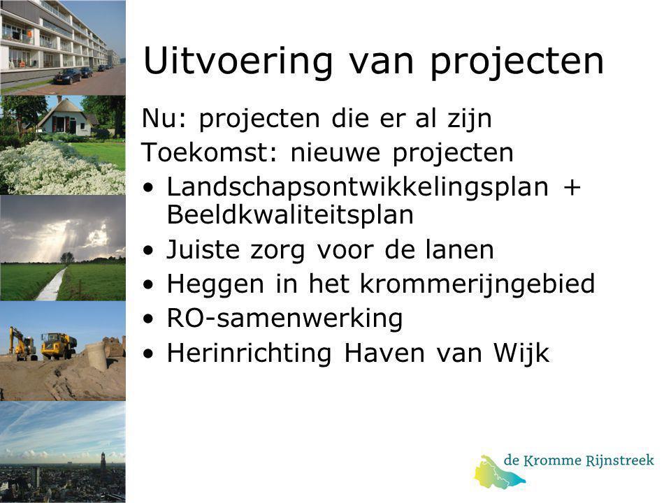 Uitvoering van projecten Nu: projecten die er al zijn Toekomst: nieuwe projecten Landschapsontwikkelingsplan + Beeldkwaliteitsplan Juiste zorg voor de