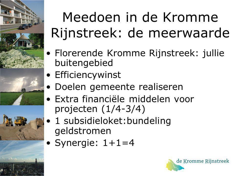 Meedoen in de Kromme Rijnstreek: de meerwaarde Florerende Kromme Rijnstreek: jullie buitengebied Efficiencywinst Doelen gemeente realiseren Extra fina