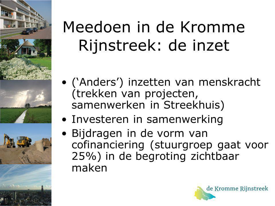 Meedoen in de Kromme Rijnstreek: de inzet ('Anders') inzetten van menskracht (trekken van projecten, samenwerken in Streekhuis) Investeren in samenwer