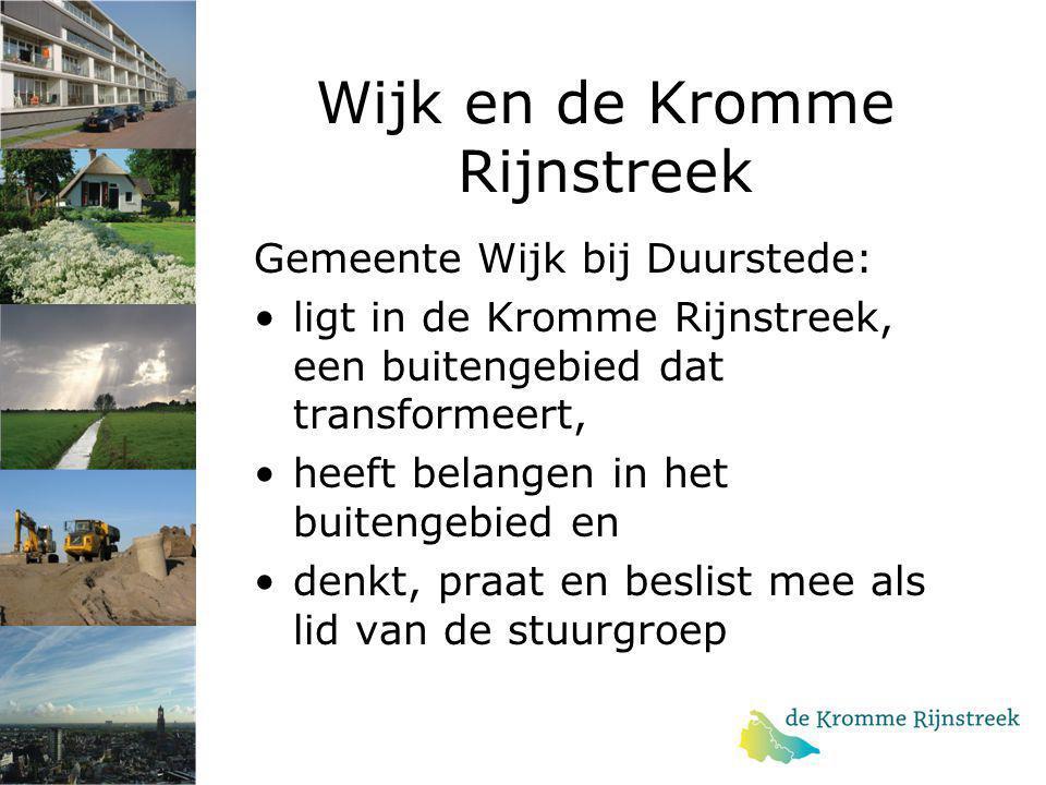 Wijk en de Kromme Rijnstreek Gemeente Wijk bij Duurstede: ligt in de Kromme Rijnstreek, een buitengebied dat transformeert, heeft belangen in het buit