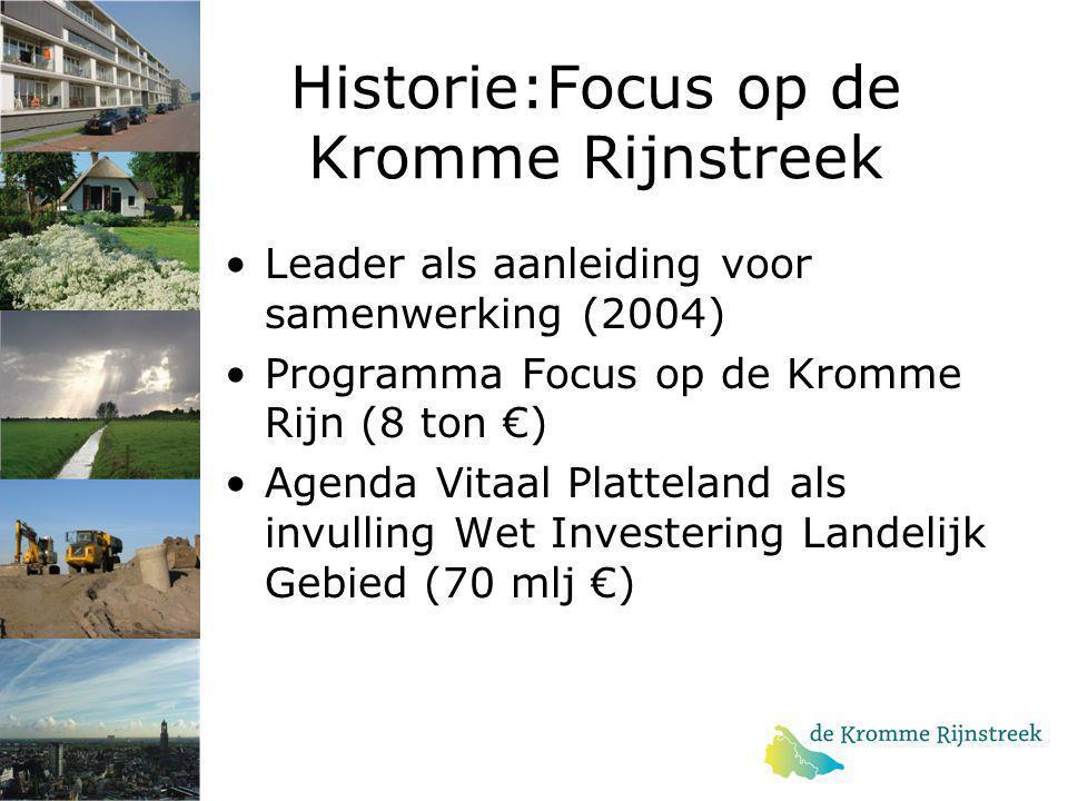 Historie:Focus op de Kromme Rijnstreek Leader als aanleiding voor samenwerking (2004) Programma Focus op de Kromme Rijn (8 ton €) Agenda Vitaal Platte