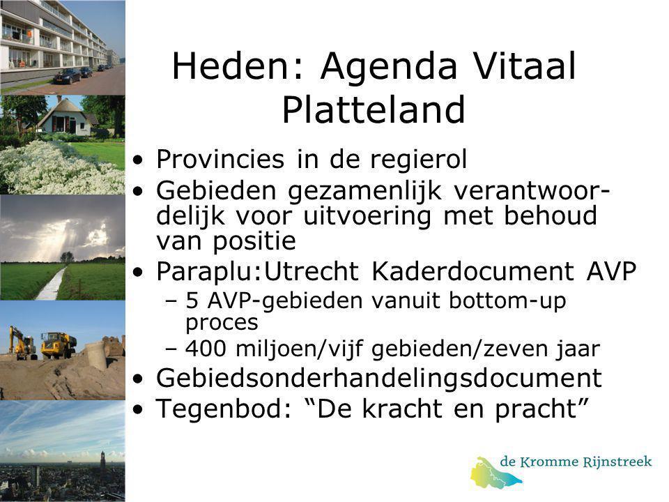 Heden: Agenda Vitaal Platteland Provincies in de regierol Gebieden gezamenlijk verantwoor- delijk voor uitvoering met behoud van positie Paraplu:Utrec