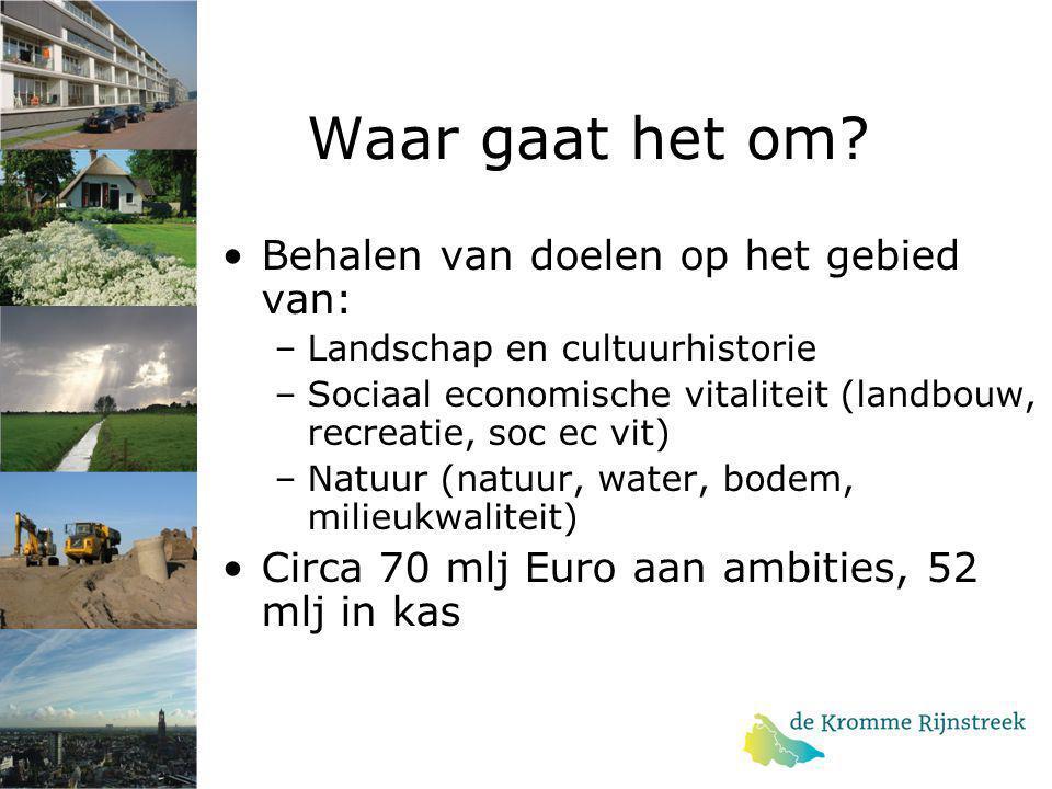 Waar gaat het om? Behalen van doelen op het gebied van: –Landschap en cultuurhistorie –Sociaal economische vitaliteit (landbouw, recreatie, soc ec vit