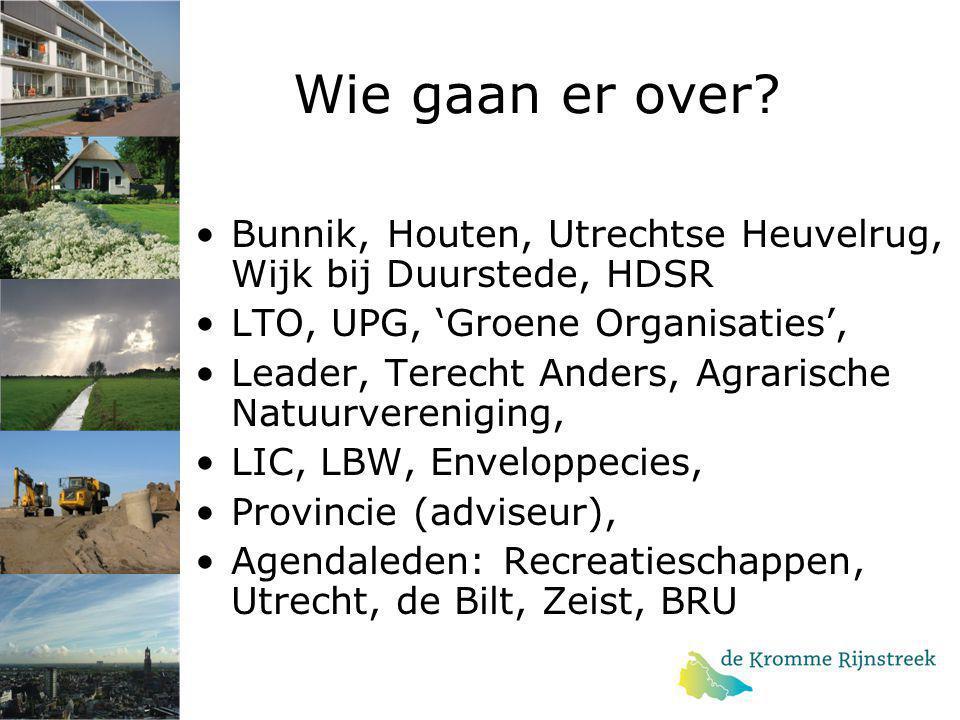 Wie gaan er over? Bunnik, Houten, Utrechtse Heuvelrug, Wijk bij Duurstede, HDSR LTO, UPG, 'Groene Organisaties', Leader, Terecht Anders, Agrarische Na