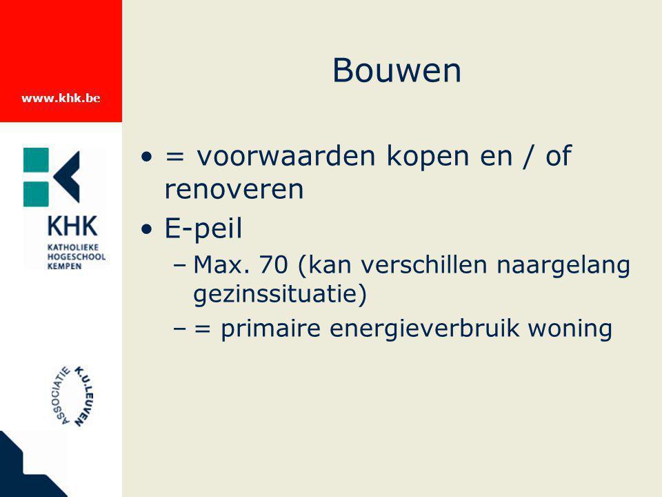 www.khk.be Bouwen = voorwaarden kopen en / of renoveren E-peil –Max. 70 (kan verschillen naargelang gezinssituatie) –= primaire energieverbruik woning