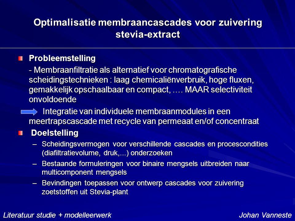 Optimalisatie membraancascades voor zuivering stevia-extract Probleemstelling - Membraanfiltratie als alternatief voor chromatografische scheidingstechnieken : laag chemicaliënverbruik, hoge fluxen, gemakkelijk opschaalbaar en compact, ….