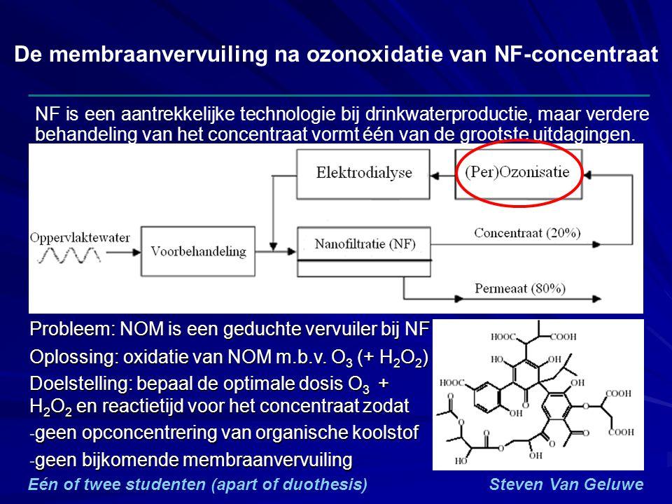 De membraanvervuiling na ozonoxidatie van NF-concentraat NF is een aantrekkelijke technologie bij drinkwaterproductie, maar verdere behandeling van het concentraat vormt één van de grootste uitdagingen.
