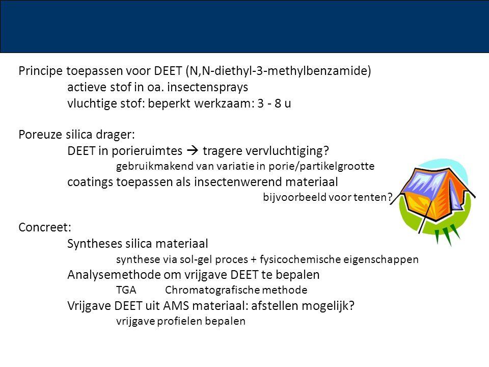 Principe toepassen voor DEET (N,N-diethyl-3-methylbenzamide) actieve stof in oa. insectensprays vluchtige stof: beperkt werkzaam: 3 - 8 u Poreuze sili