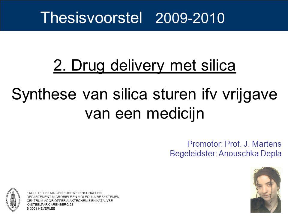 2. Drug delivery met silica Synthese van silica sturen ifv vrijgave van een medicijn Promotor: Prof. J. Martens Begeleidster: Anouschka Depla FACULTEI