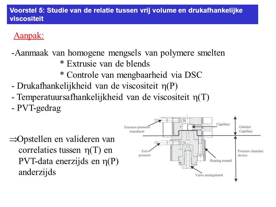 Voorstel 5: Studie van de relatie tussen vrij volume en drukafhankelijke viscositeit Aanpak: -Aanmaak van homogene mengsels van polymere smelten * Extrusie van de blends * Controle van mengbaarheid via DSC - Drukafhankelijkheid van de viscositeit  (P) - Temperatuursafhankelijkheid van de viscositeit  (T) - PVT-gedrag  Opstellen en valideren van correlaties tussen  (T) en PVT-data enerzijds en  (P) anderzijds