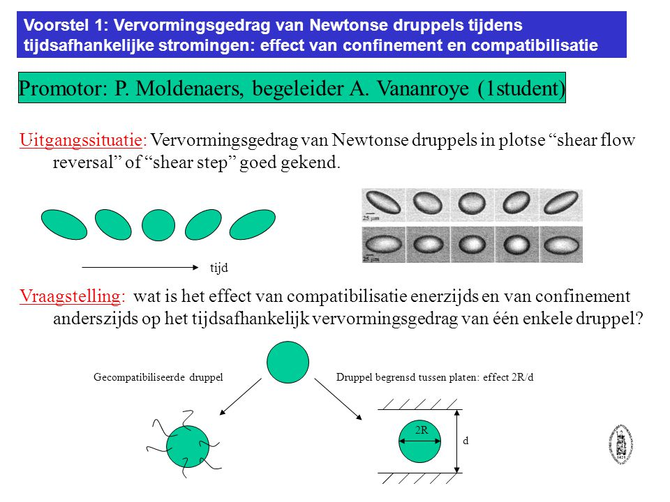 Voorstel 1: Vervormingsgedrag van Newtonse druppels tijdens tijdsafhankelijke stromingen: effect van confinement en compatibilisatie.