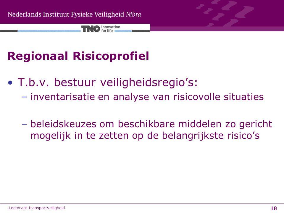 18 Regionaal Risicoprofiel T.b.v. bestuur veiligheidsregio's: –inventarisatie en analyse van risicovolle situaties –beleidskeuzes om beschikbare midde