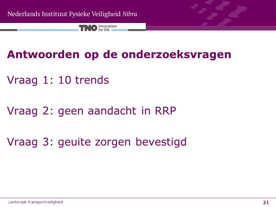 21 Antwoorden op de onderzoeksvragen Vraag 1: 10 trends Vraag 2: geen aandacht in RRP Vraag 3: geuite zorgen bevestigd Lectoraat transportveiligheid