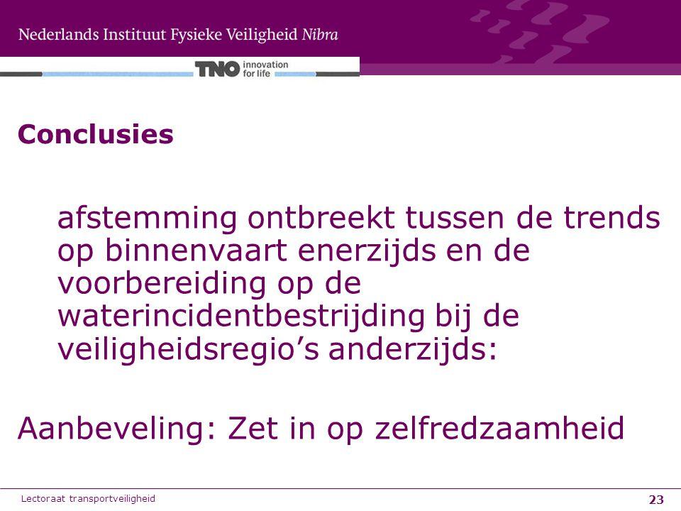 23 Conclusies afstemming ontbreekt tussen de trends op binnenvaart enerzijds en de voorbereiding op de waterincidentbestrijding bij de veiligheidsregi