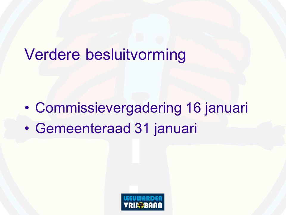 Verdere besluitvorming Commissievergadering 16 januari Gemeenteraad 31 januari