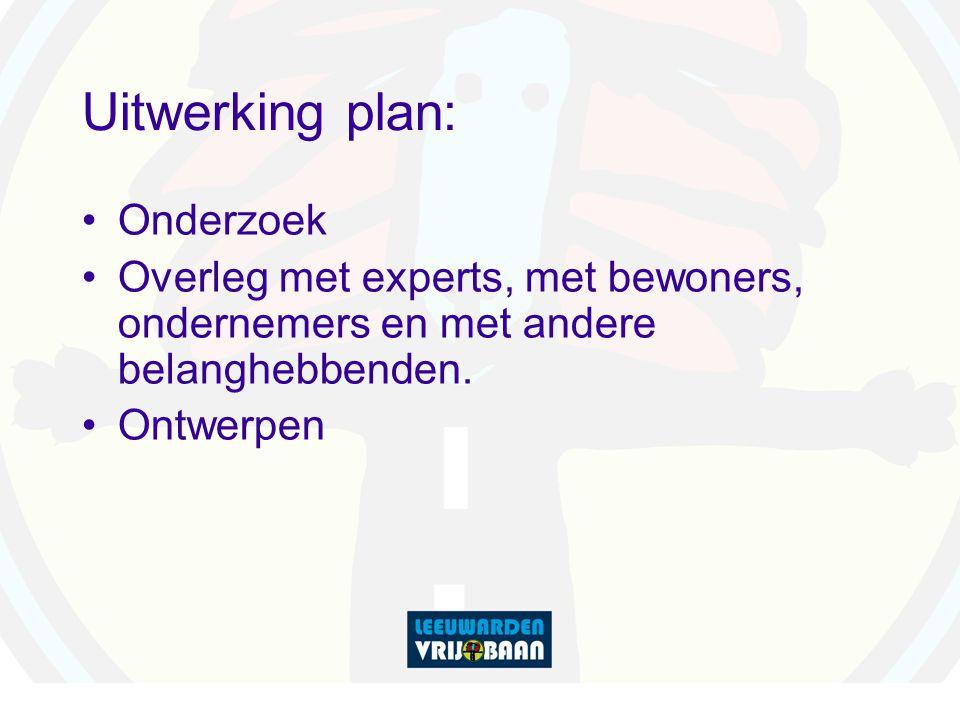 Uitwerking plan: Onderzoek Overleg met experts, met bewoners, ondernemers en met andere belanghebbenden.