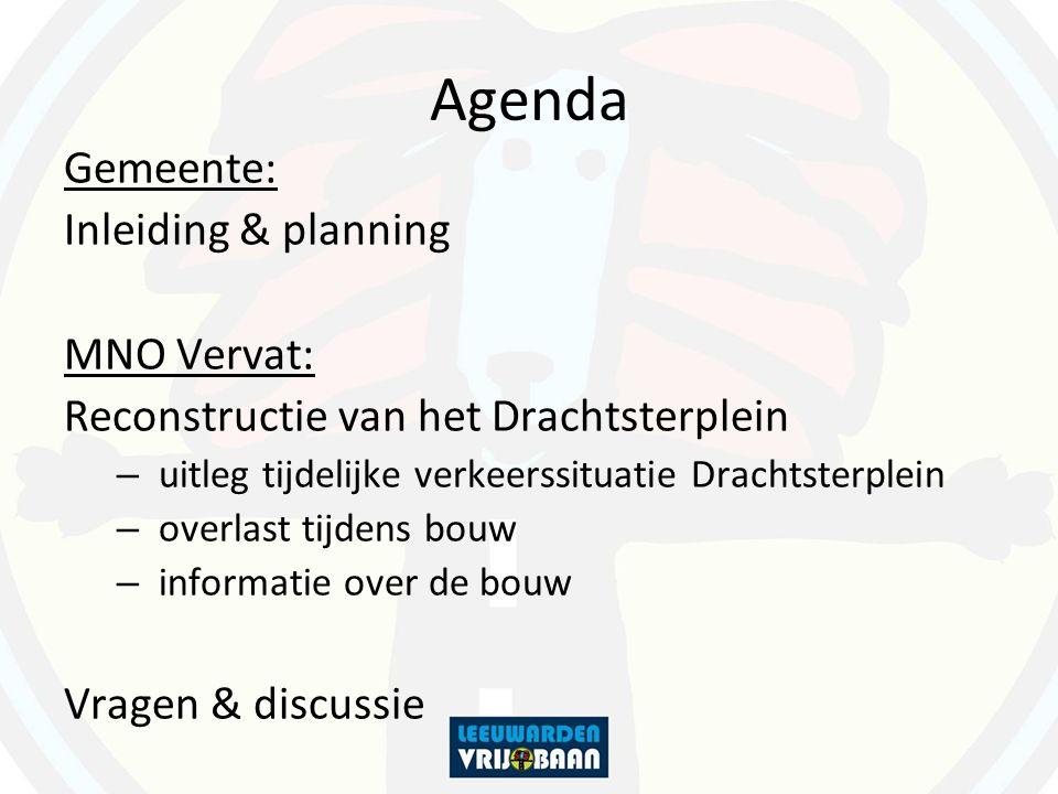Agenda Gemeente: Inleiding & planning MNO Vervat: Reconstructie van het Drachtsterplein – uitleg tijdelijke verkeerssituatie Drachtsterplein – overlast tijdens bouw – informatie over de bouw Vragen & discussie
