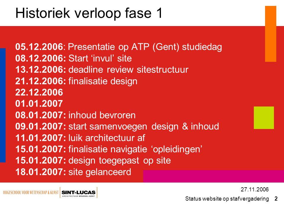 Status website op stafvergadering 2 27.11.2006 Historiek verloop fase 1 05.12.2006: Presentatie op ATP (Gent) studiedag 08.12.2006: Start 'invul' site