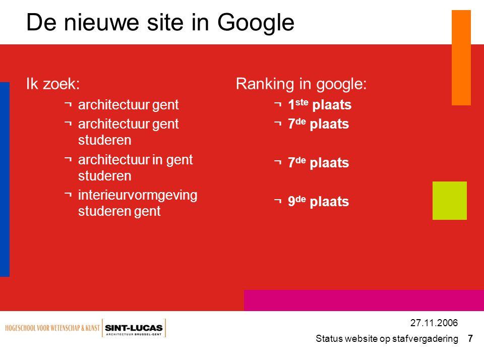 Status website op stafvergadering 7 27.11.2006 De nieuwe site in Google Ik zoek: ¬architectuur gent ¬architectuur gent studeren ¬architectuur in gent