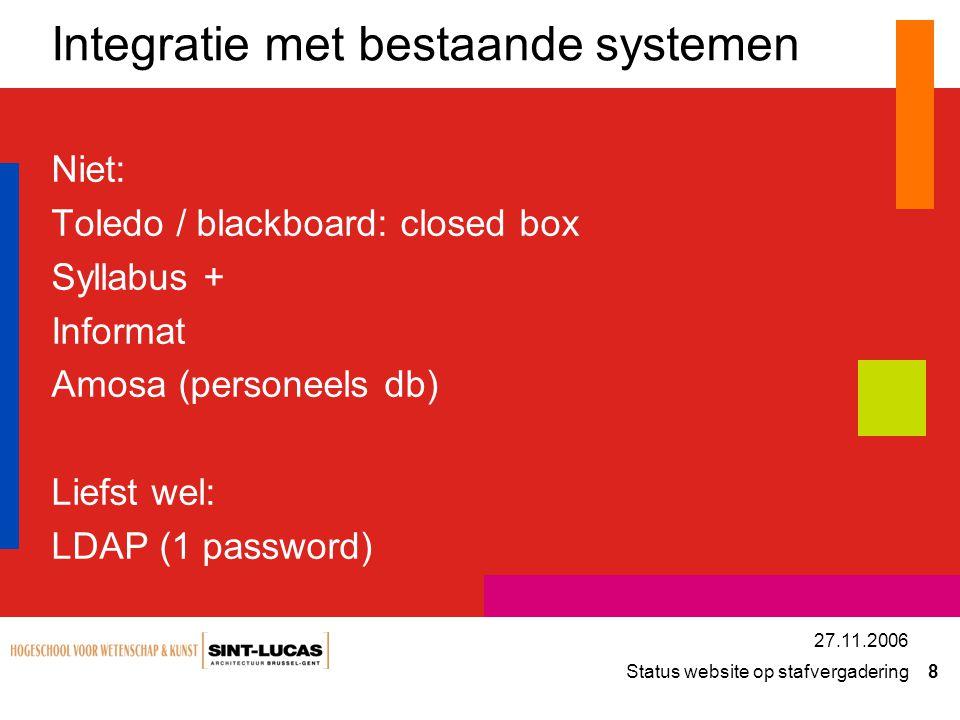 Status website op stafvergadering 8 27.11.2006 Integratie met bestaande systemen Niet: Toledo / blackboard: closed box Syllabus + Informat Amosa (pers