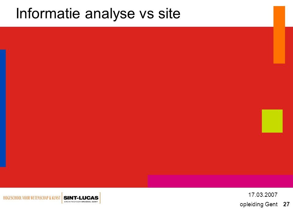 opleiding Gent 27 17.03.2007 Informatie analyse vs site