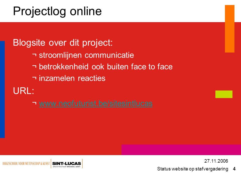 Status website op stafvergadering 5 27.11.2006 Site: E-mail news letter categorieën Rss feeds comments