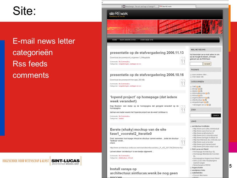Status website op stafvergadering 6 27.11.2006 Structuur