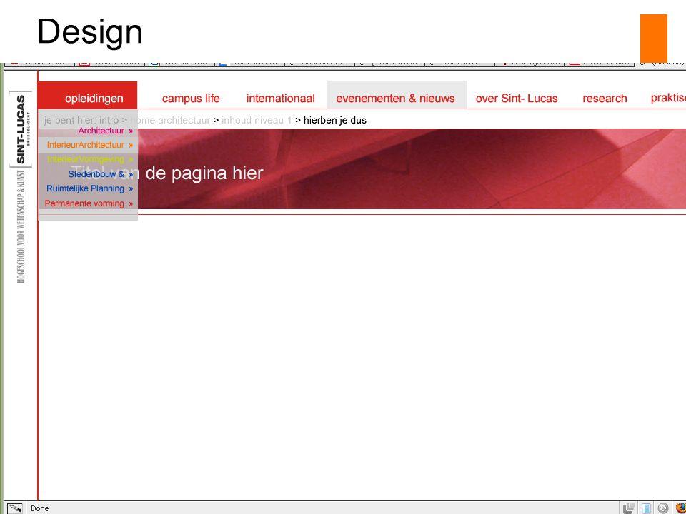 Status website op stafvergadering 9 27.11.2006 Design