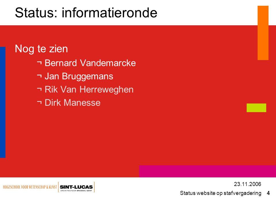 Status website op stafvergadering 4 23.11.2006 Status: informatieronde Nog te zien ¬Bernard Vandemarcke ¬Jan Bruggemans ¬Rik Van Herreweghen ¬Dirk Man