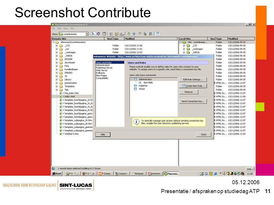 Presentatie / afspraken op studiedag ATP 11 05.12.2006 Screenshot Contribute