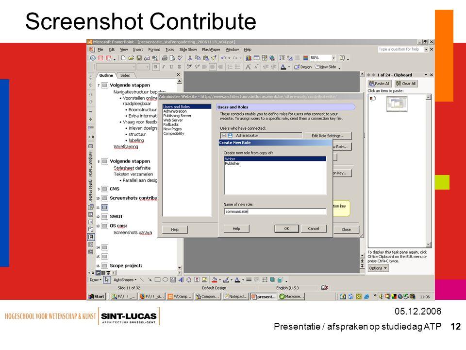 Presentatie / afspraken op studiedag ATP 12 05.12.2006 Screenshot Contribute