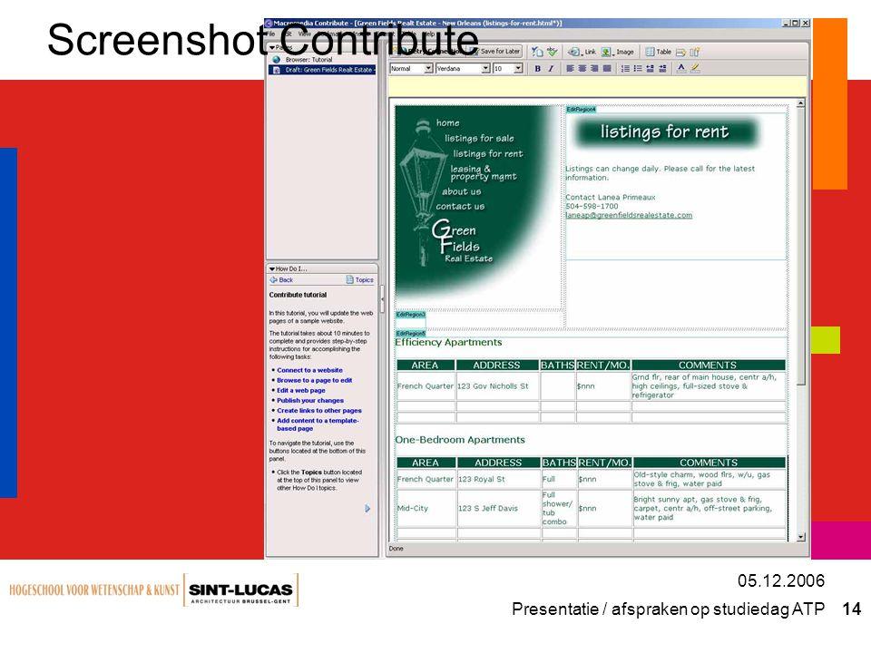 Presentatie / afspraken op studiedag ATP 14 05.12.2006 Screenshot Contribute