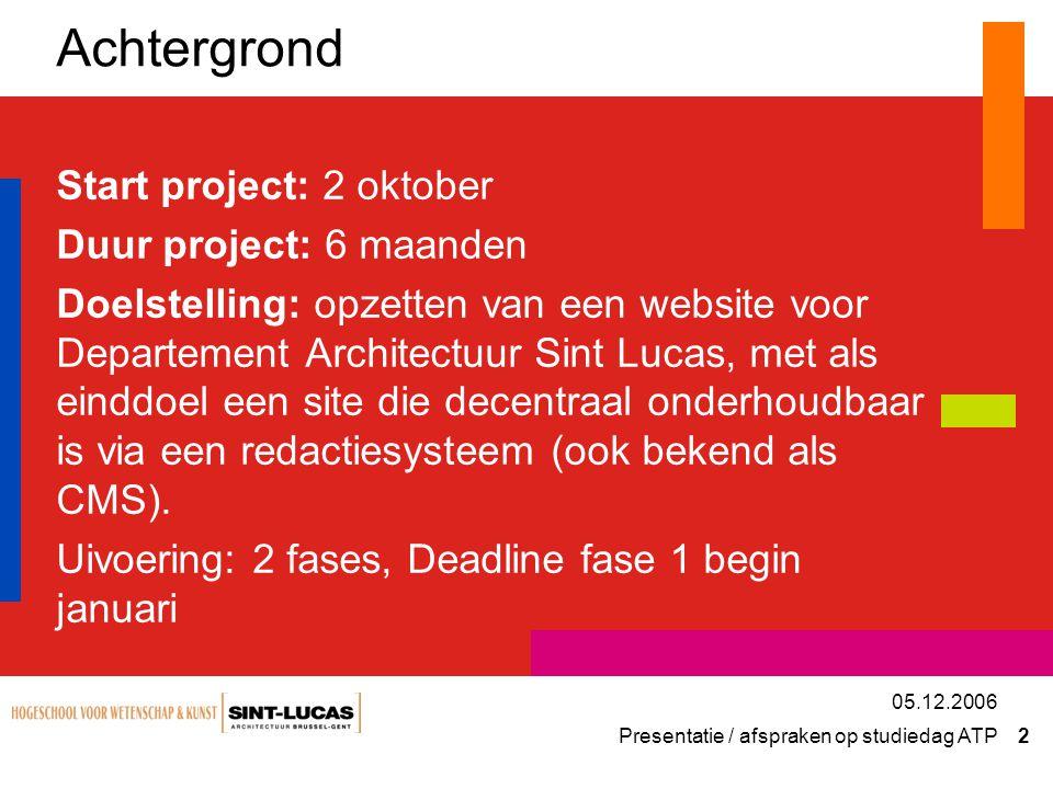 Presentatie / afspraken op studiedag ATP 13 05.12.2006 Screenshot Contribute