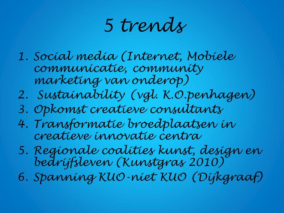 5 trends 1.Social media (Internet, Mobiele communicatie, community marketing van onderop) 2. Sustainability (vgl. K.O.penhagen) 3.Opkomst creatieve co