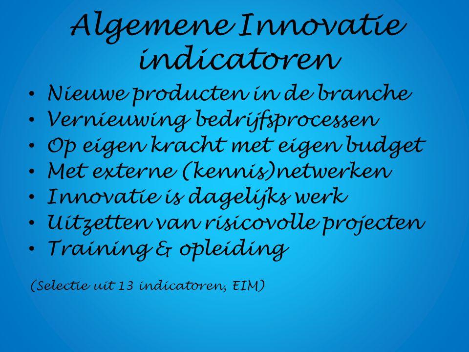 Algemene Innovatie indicatoren Nieuwe producten in de branche Vernieuwing bedrijfsprocessen Op eigen kracht met eigen budget Met externe (kennis)netwe