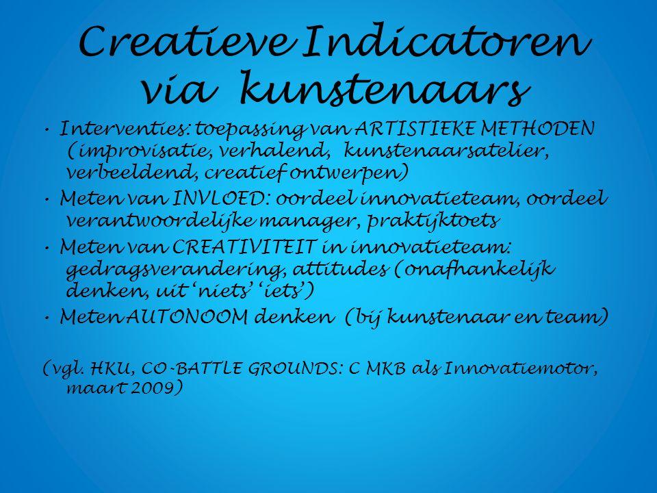 Innovatie-omgeving Innovatiebeleid # innovatieprojecten, multidisciplinair (inter?, trans?) Kwaliteit projectleider (affiniteit met werk van kunstenaars?) Competenties kunstenaar ('vertalen van conceptuele studio en atelierkennis naar innovatiepraktijken')