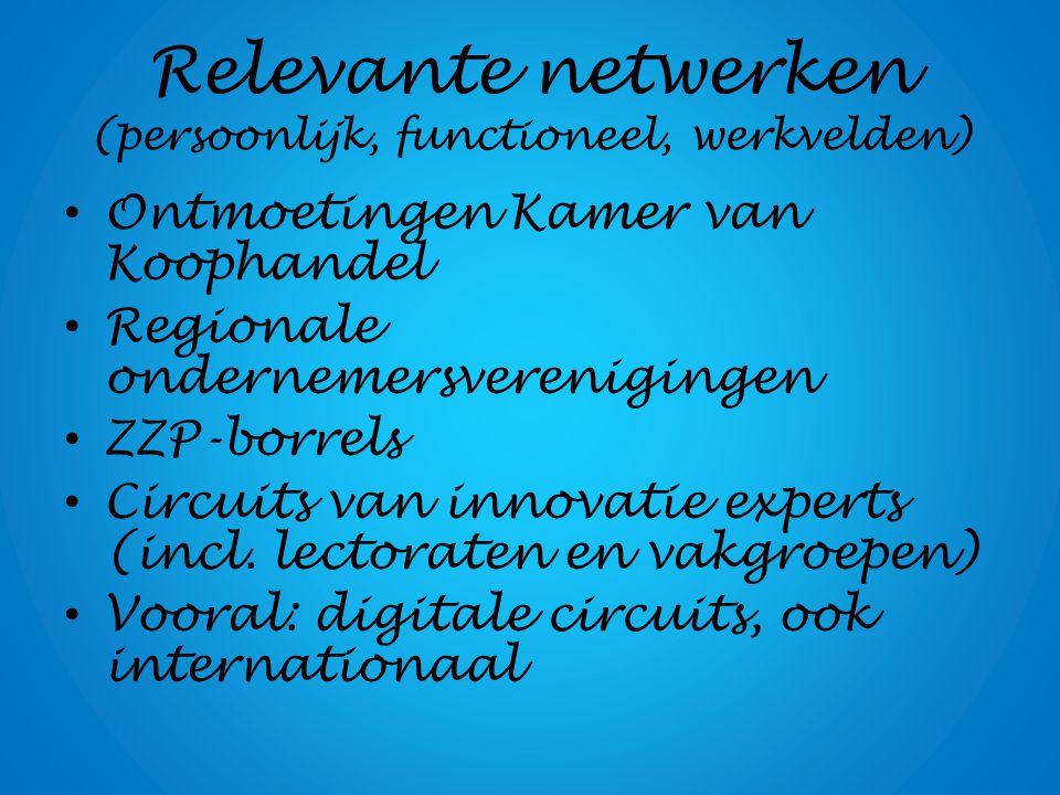 Relevante netwerken (persoonlijk, functioneel, werkvelden) Ontmoetingen Kamer van Koophandel Regionale ondernemersverenigingen ZZP-borrels Circuits va
