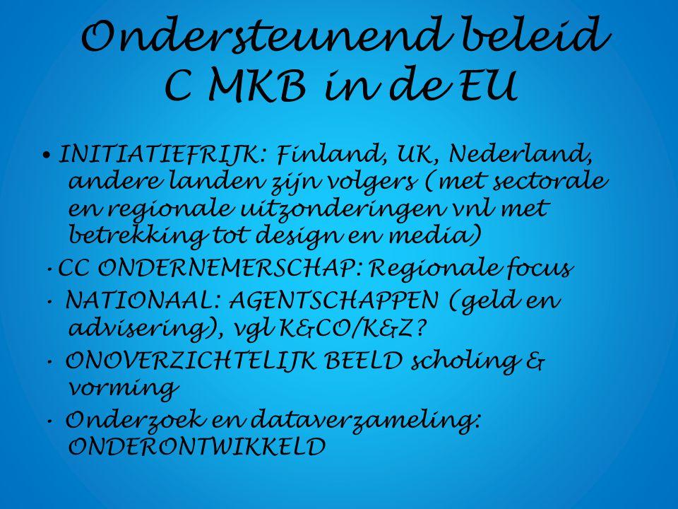 Ondersteunend beleid C MKB in de EU INITIATIEFRIJK: Finland, UK, Nederland, andere landen zijn volgers (met sectorale en regionale uitzonderingen vnl met betrekking tot design en media) CC ONDERNEMERSCHAP: Regionale focus NATIONAAL: AGENTSCHAPPEN (geld en advisering), vgl K&CO/K&Z.