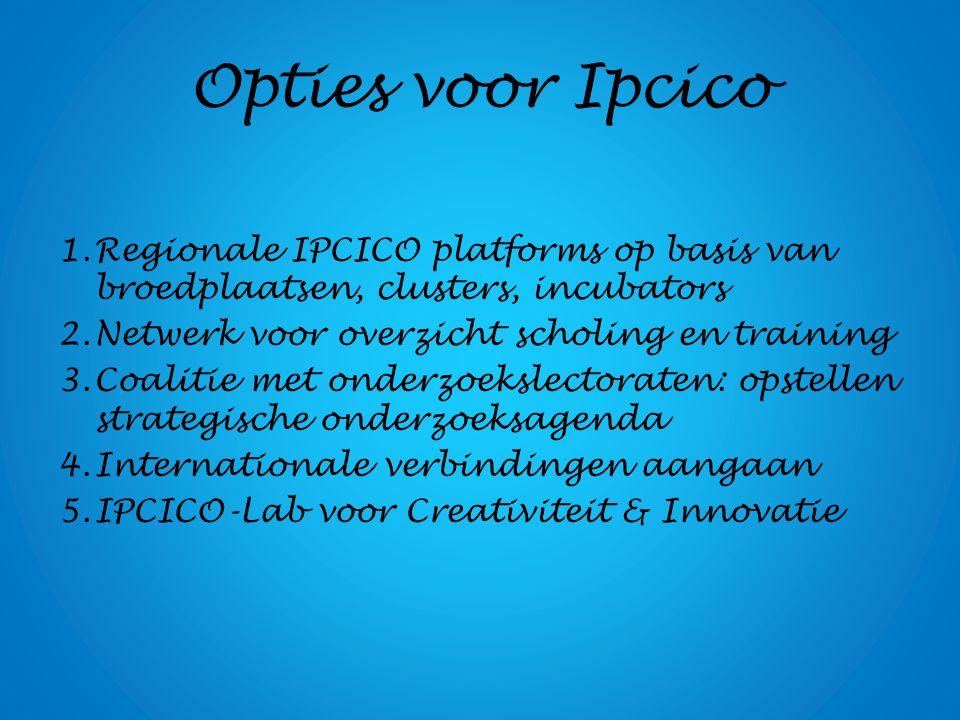 Opties voor Ipcico 1.Regionale IPCICO platforms op basis van broedplaatsen, clusters, incubators 2.Netwerk voor overzicht scholing en training 3.Coalitie met onderzoekslectoraten: opstellen strategische onderzoeksagenda 4.Internationale verbindingen aangaan 5.IPCICO-Lab voor Creativiteit & Innovatie