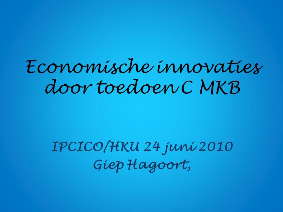 Economische innovaties door toedoen C MKB IPCICO/HKU 24 juni 2010 Giep Hagoort,