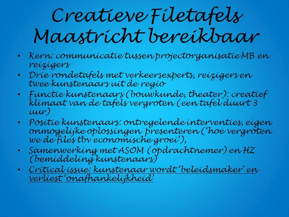 Creatieve Filetafels Maastricht bereikbaar Kern: communicatie tussen projectorganisatie MB en reizigers Drie rondetafels met verkeersexperts, reiziger