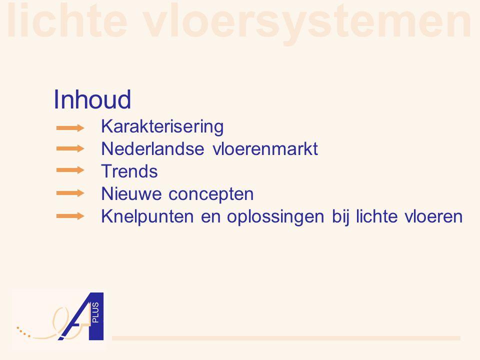 lichte vloersystemen Inhoud Karakterisering Nederlandse vloerenmarkt Trends Nieuwe concepten Knelpunten en oplossingen bij lichte vloeren