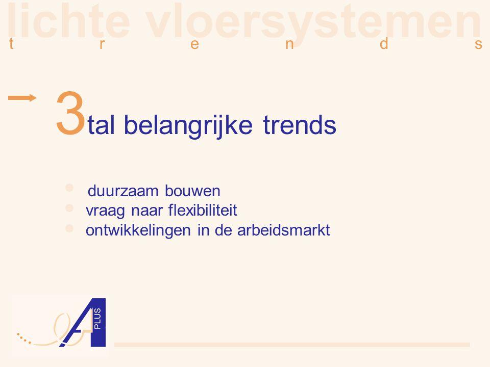 lichte vloersystemen t r e n d s 3 tal belangrijke trends duurzaam bouwen vraag naar flexibiliteit ontwikkelingen in de arbeidsmarkt